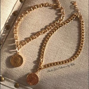 Gold plated chain with coin choker